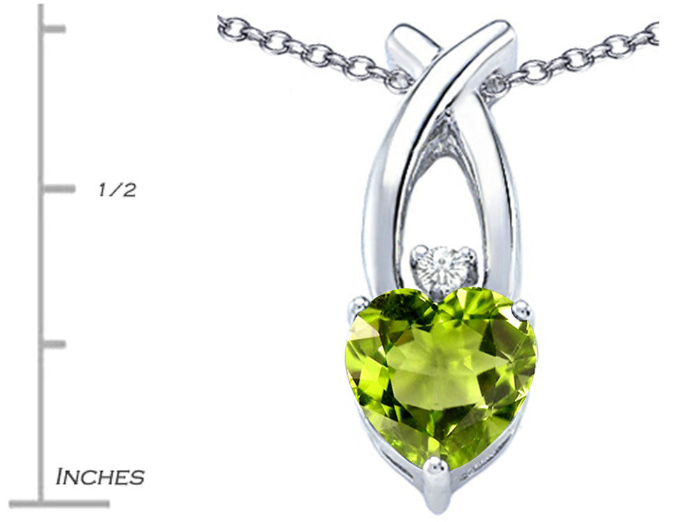 Star K 8mm Heart Shape Simulated Peridot and Cubic Zirconia Cross Heart Pendant Necklace