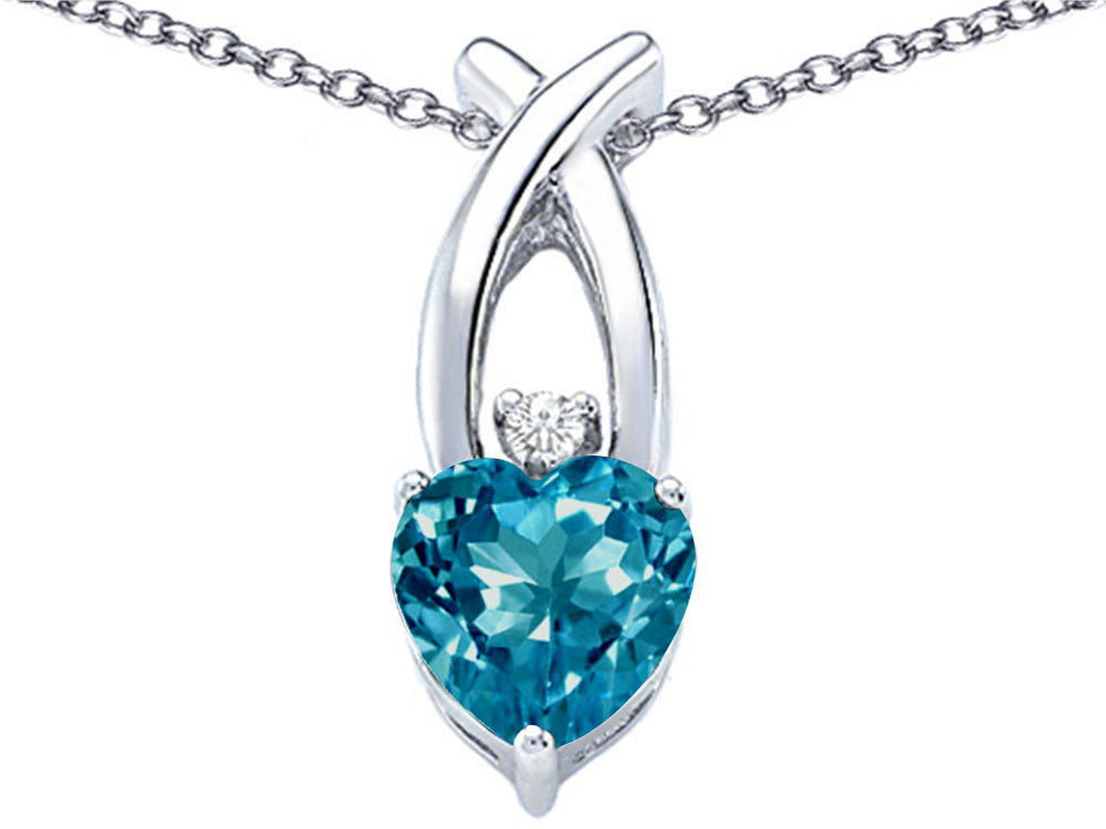 Star K 8mm Heart Shape Simulated Blue Topaz Cross Heart Pendant Necklace