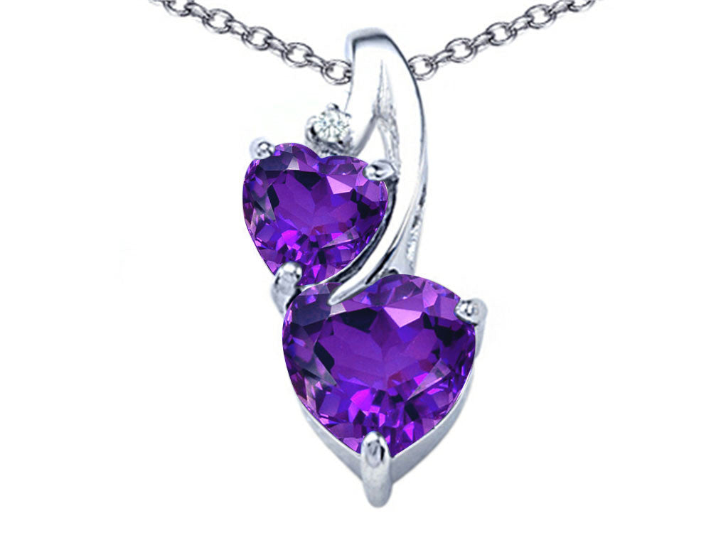 Star K 8mm Heart Shape Simulated Amethyst Double Hearts Pendant Necklace