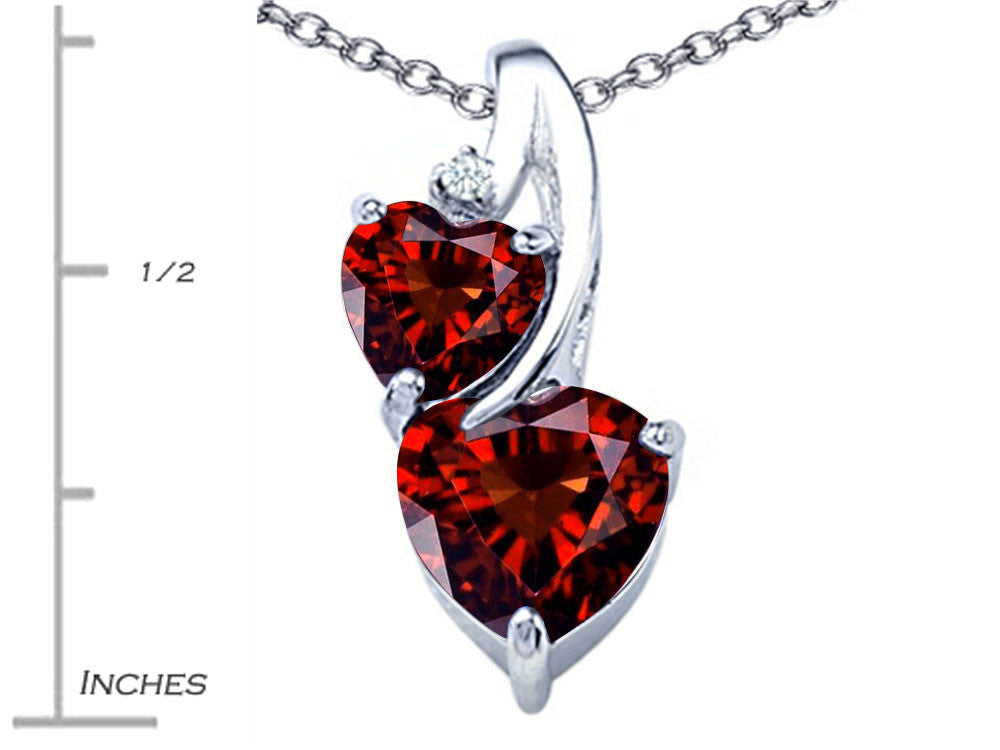 Star K 8mm Heart Shape Simulated Garnet Double Hearts Pendant Necklace