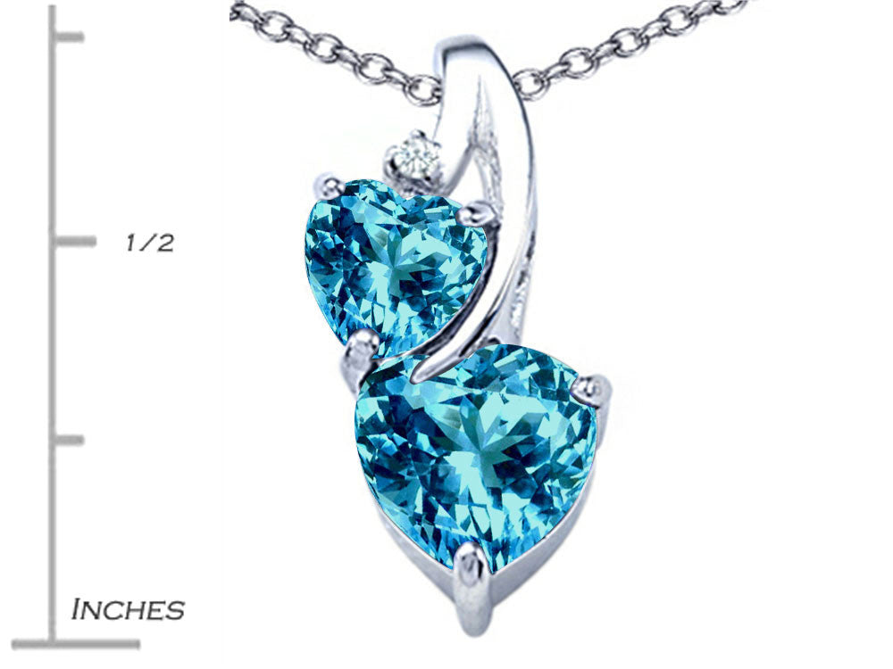 Star K 8mm Heart Shape Simulated Blue Topaz Double Hearts Pendant Necklace