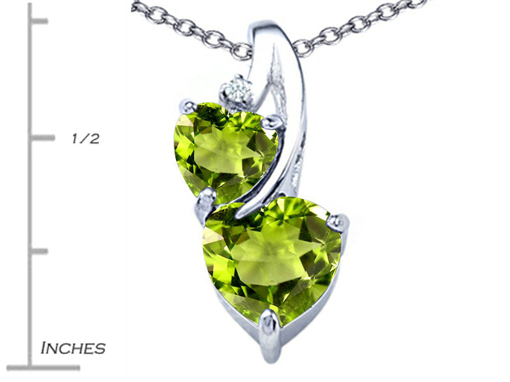 Star K 8mm Heart Shape Simulated Peridot Double Hearts Pendant Necklace