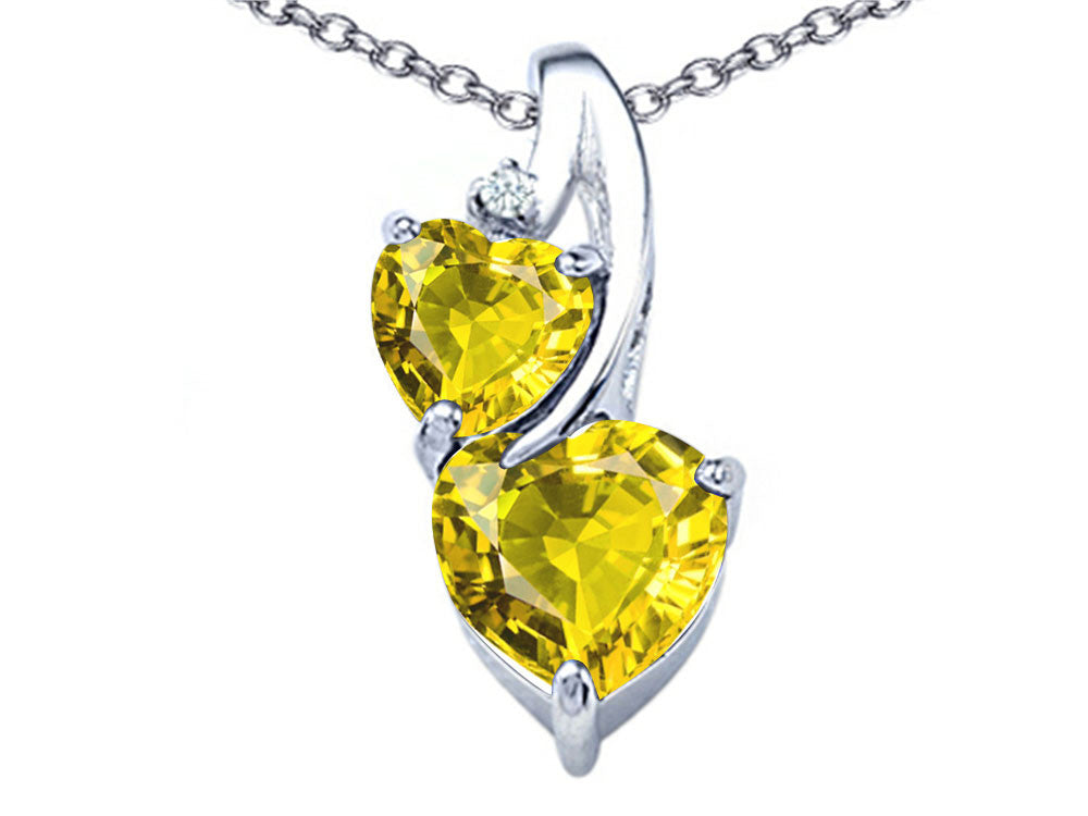 Star K 8mm Heart Shape Simulated Citrine Double Hearts Pendant Necklace