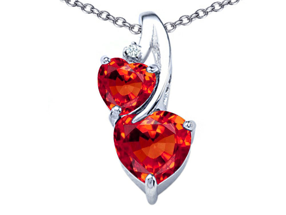 Star K 8mm Heart Shape Simulated Mexican Orange Fire Opal Double Hearts Pendant Necklace