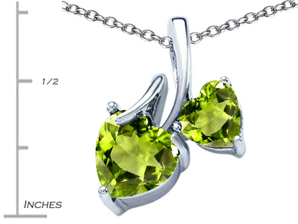 Star K 8mm and 6mm Heart Shape Simulated Peridot Double Hearts Pendant Necklace