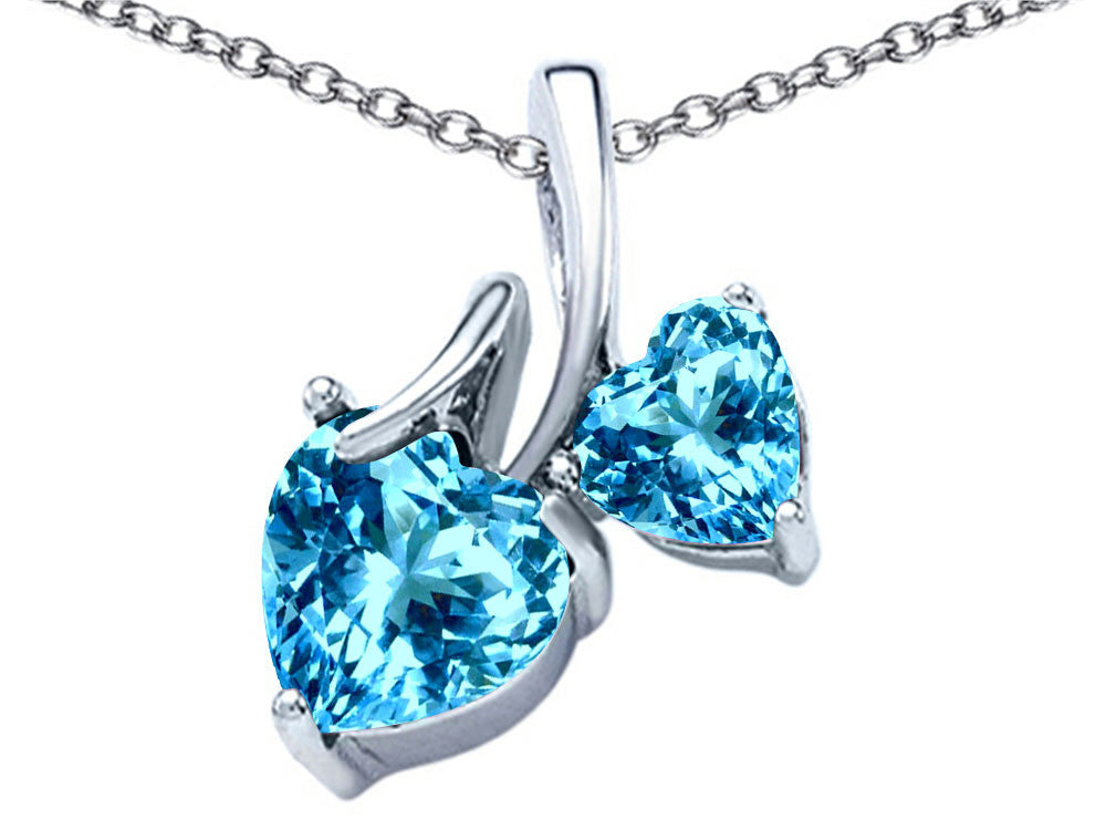 Star K 8mm and 6mm Heart Shape Simulated Blue Topaz Double Hearts Pendant Necklace