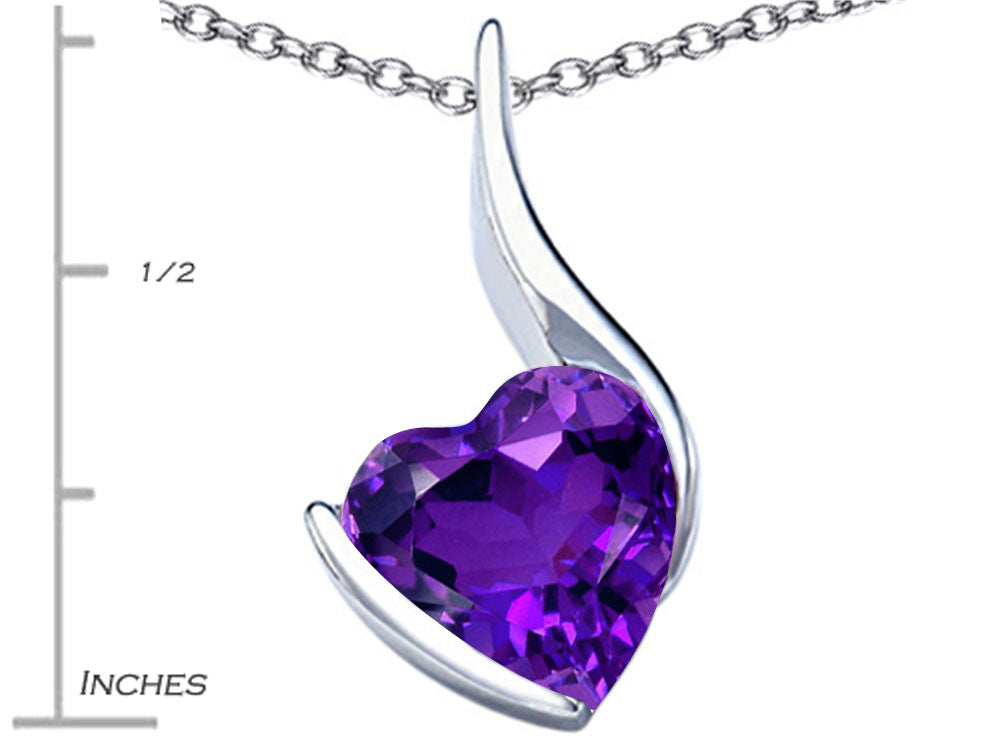 Star K Large 10mm Heart Shape Simulated Amethyst Heart Pendant Necklace