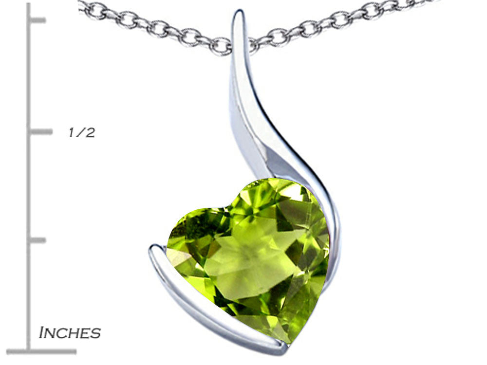 Star K Large 10mm Heart Shape Simulated Peridot Heart Pendant Necklace