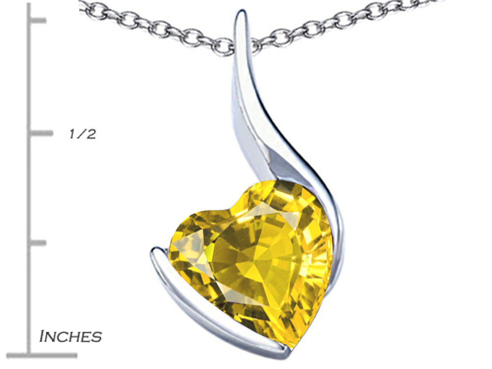 Star K Large 10mm Heart Shape Simulated Citrine Heart Pendant Necklace