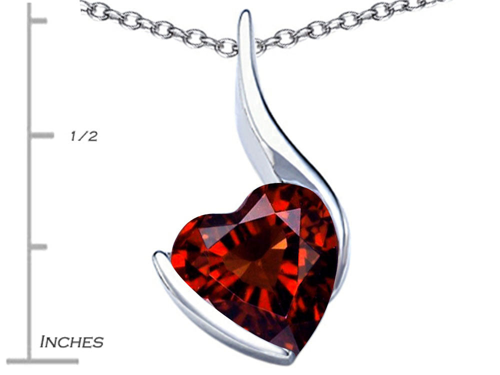 Star K Large 10mm Heart Shape Simulated Garnet Heart Pendant Necklace