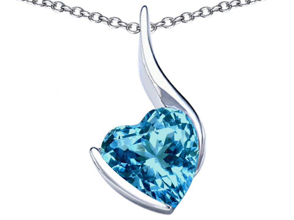 Star K Large 10mm Heart Shape Simulated Blue Topaz Heart Pendant Necklace