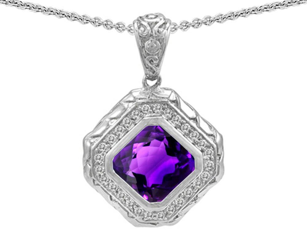 Star K 7mm Cushion Cut Simulated Amethyst Bali Style Pendant Necklace