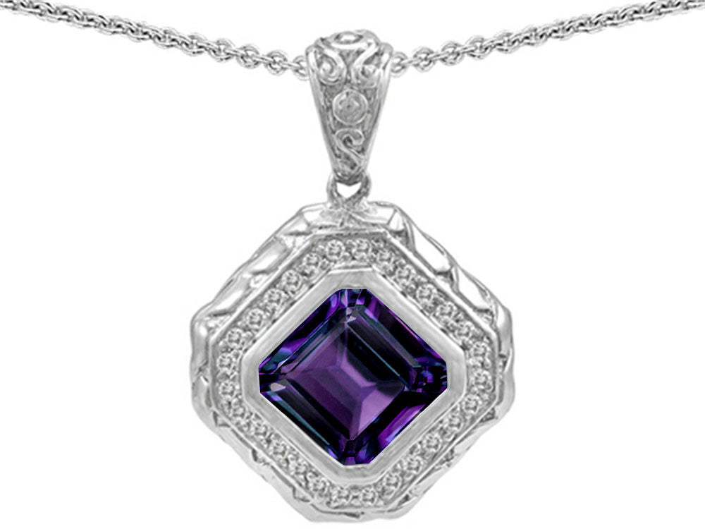 Star K 7mm Cushion Cut Simulated Alexandrite Bali Style Pendant Necklace