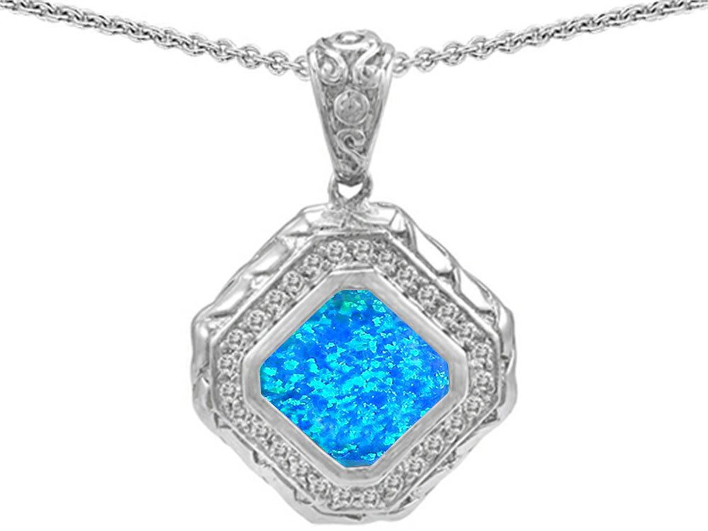 Star K 7mm Cushion Cut Blue Simulated Opal Bali Style Pendant Necklace