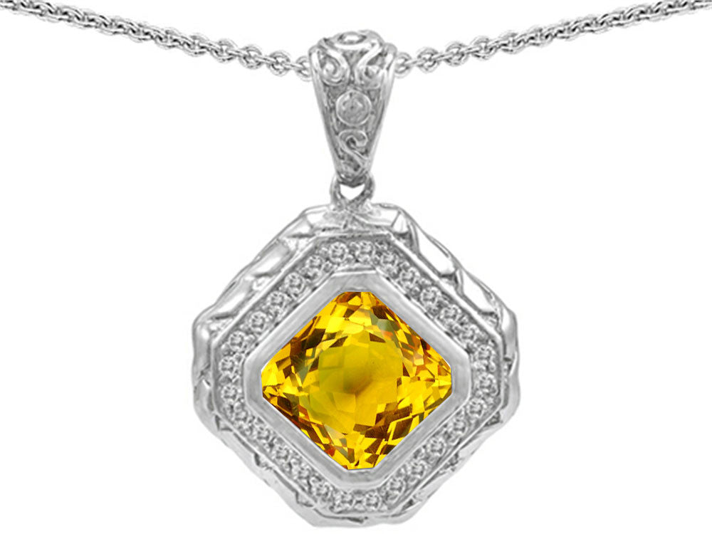 Star K 7mm Cushion Cut Simulated Citrine Bali Style Pendant Necklace