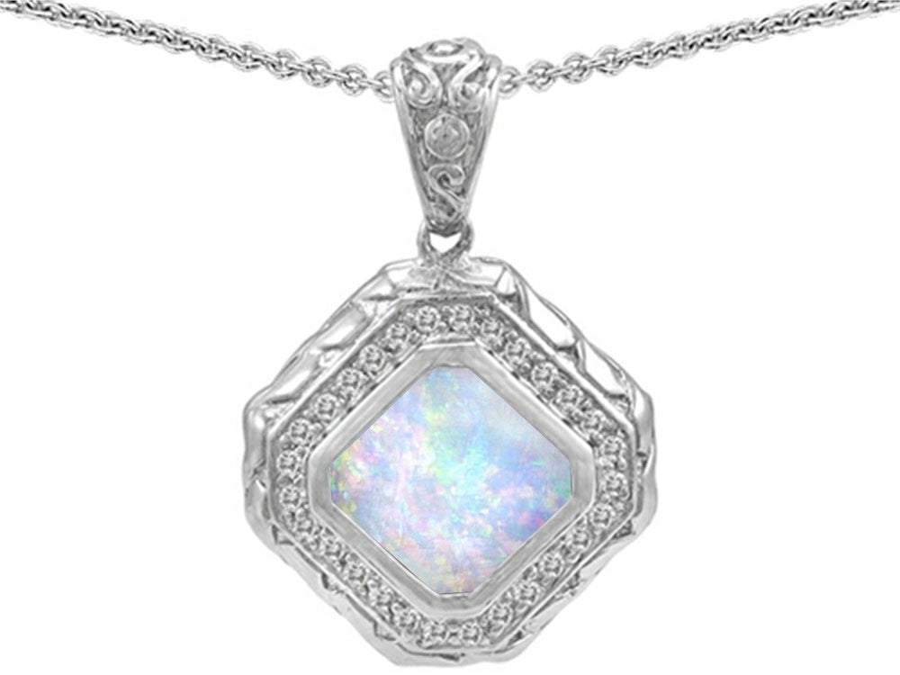 Star K 7mm Cushion Cut Simulated Opal Bali Style Pendant Necklace