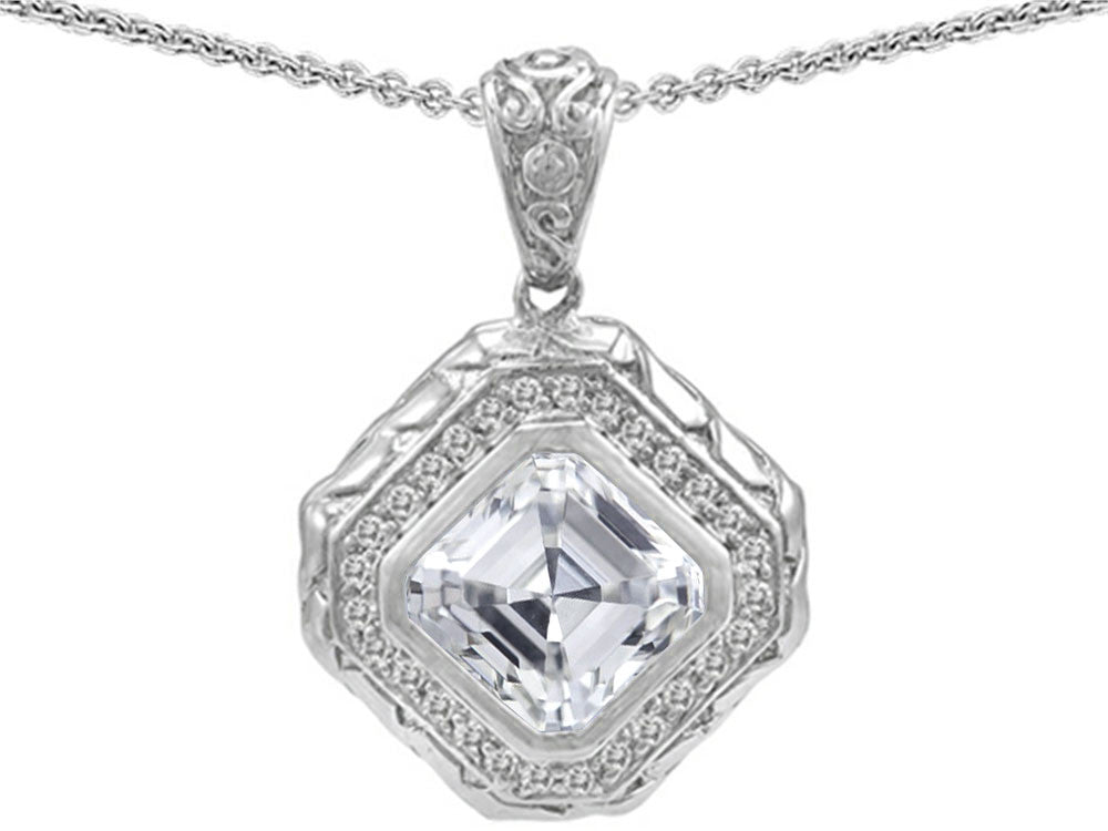 Star K 7mm Cushion Cut White Topaz Bali Style Pendant Necklace