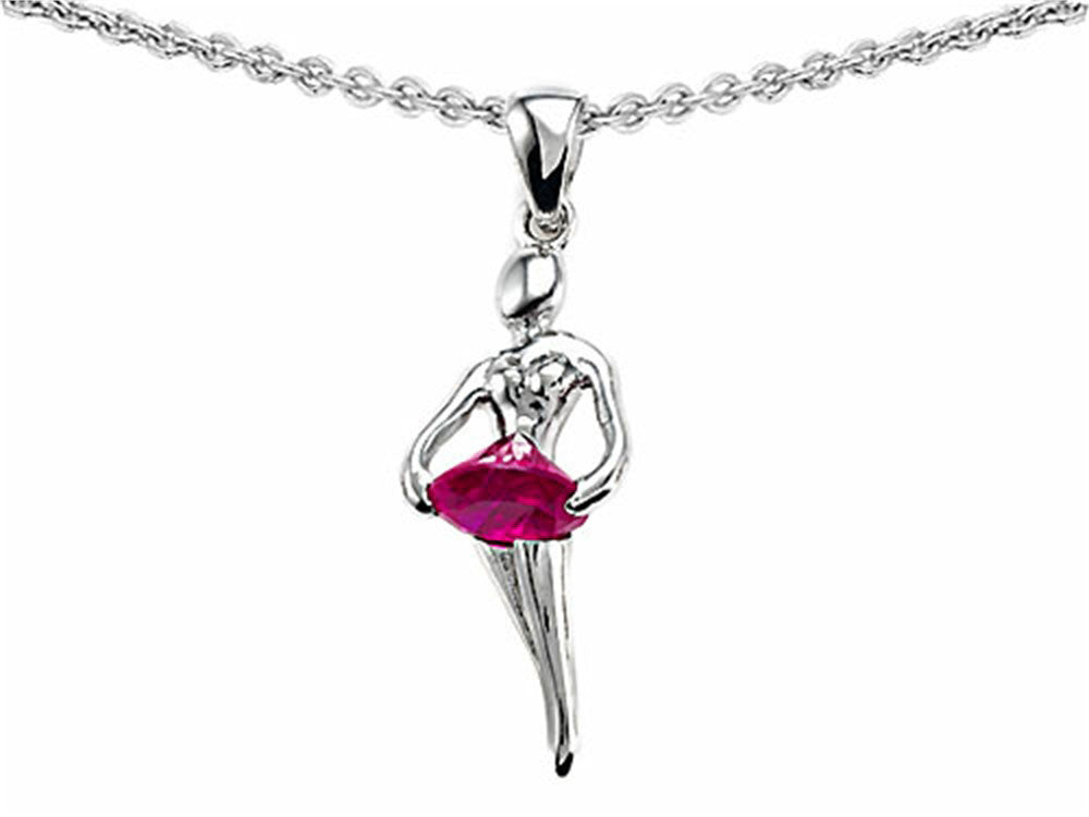 Star K Ballerina Dancer Pendant Necklace with Round 7mm Created Pink Sapphire