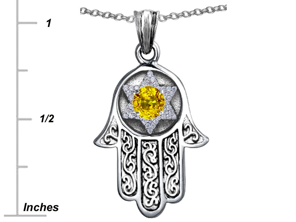 Star K Hamsa Evil Eye Protection Pendant Necklace Round Simulated Citrine