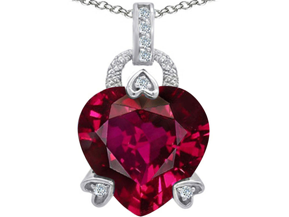 Star K Large Lock Love Heart Pendant Necklace with 13mm Heart Shape Created Ruby