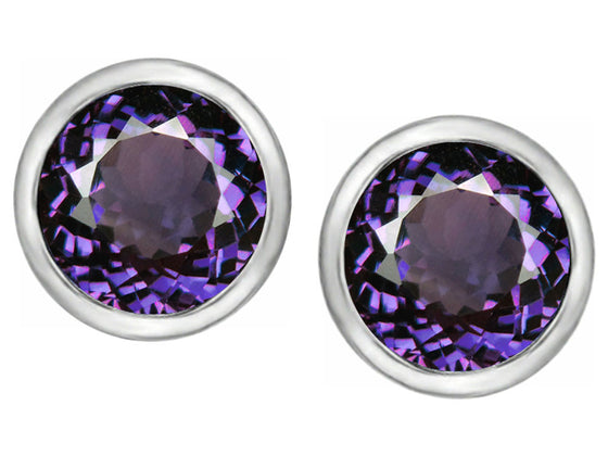Star K 7mm Round Simulated Amethyst Earrings Studs