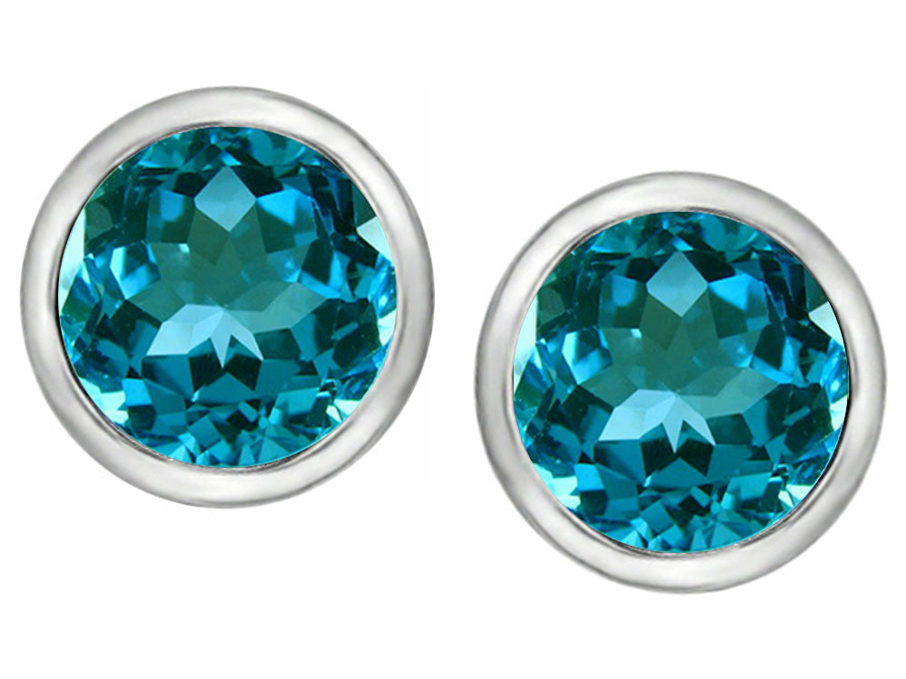 Star K 7mm Round Simulated Blue Topaz Earrings Studs