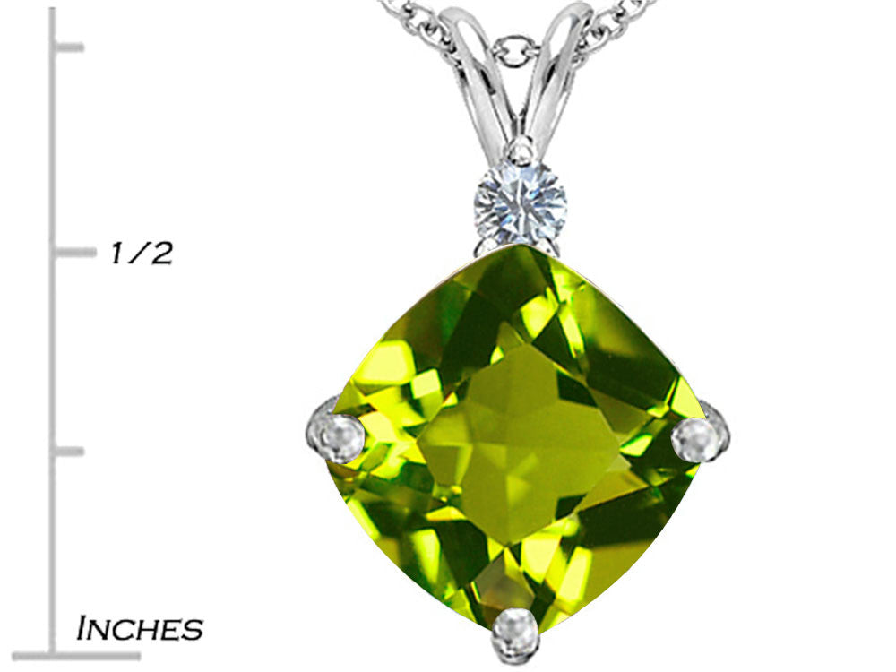 Star K Large 12mm Cushion Cut Simulated Peridot and Cubic Zirconia Pendant Necklace