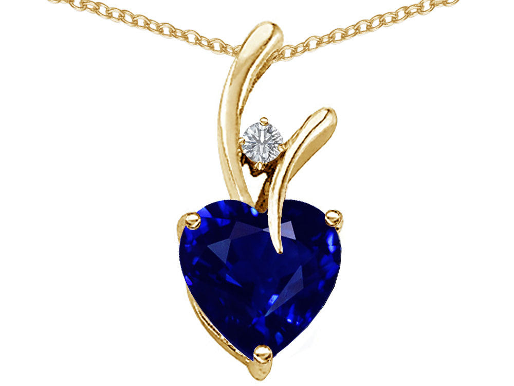 Star K Heart Shape 8mm Created Sapphire Endless Love Pendant Necklace