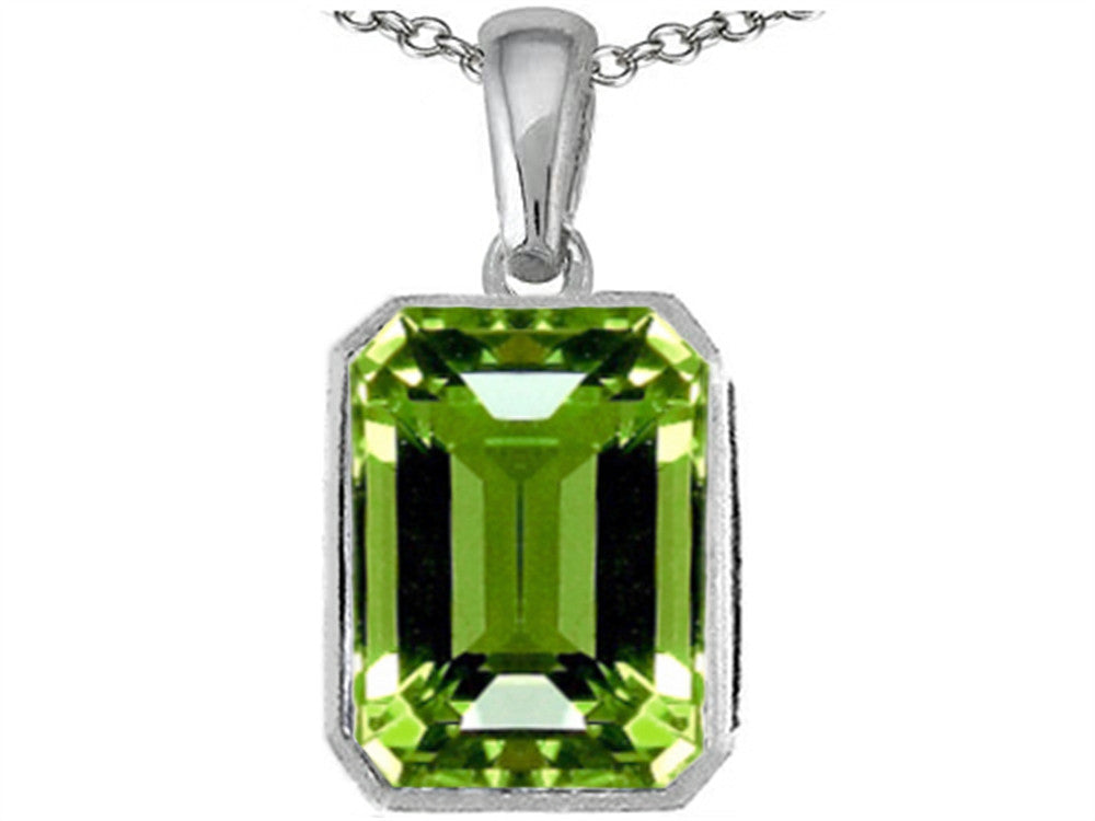 Star K Emerald Cut 10x8mm Simulated Peridot Pendant Necklace