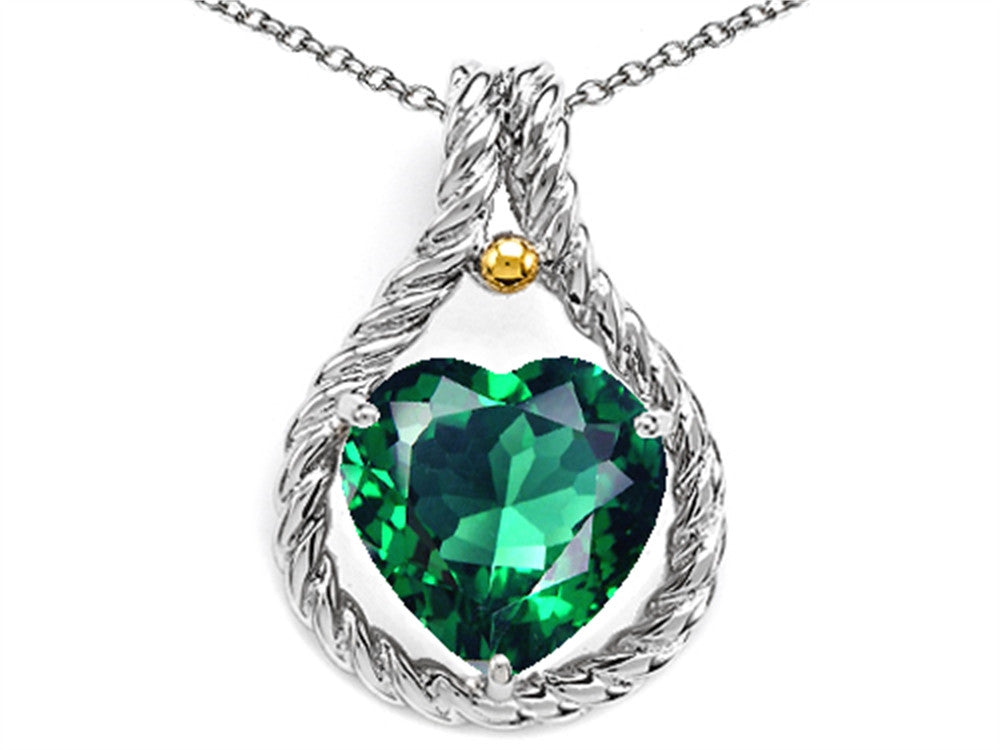 Star K Rope Design 10mm Heart Shape Simulated Emerald Heart Pendant Necklace