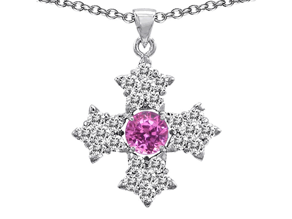 Star K Cross Protection Round Created Pink Sapphire Pendant Necklace
