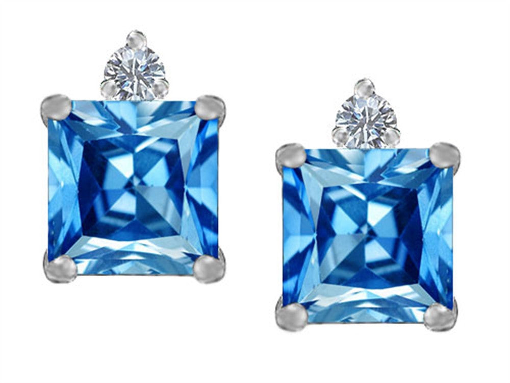 Star K 7mm Square Cut Simulated Blue Topaz Earrings Studs