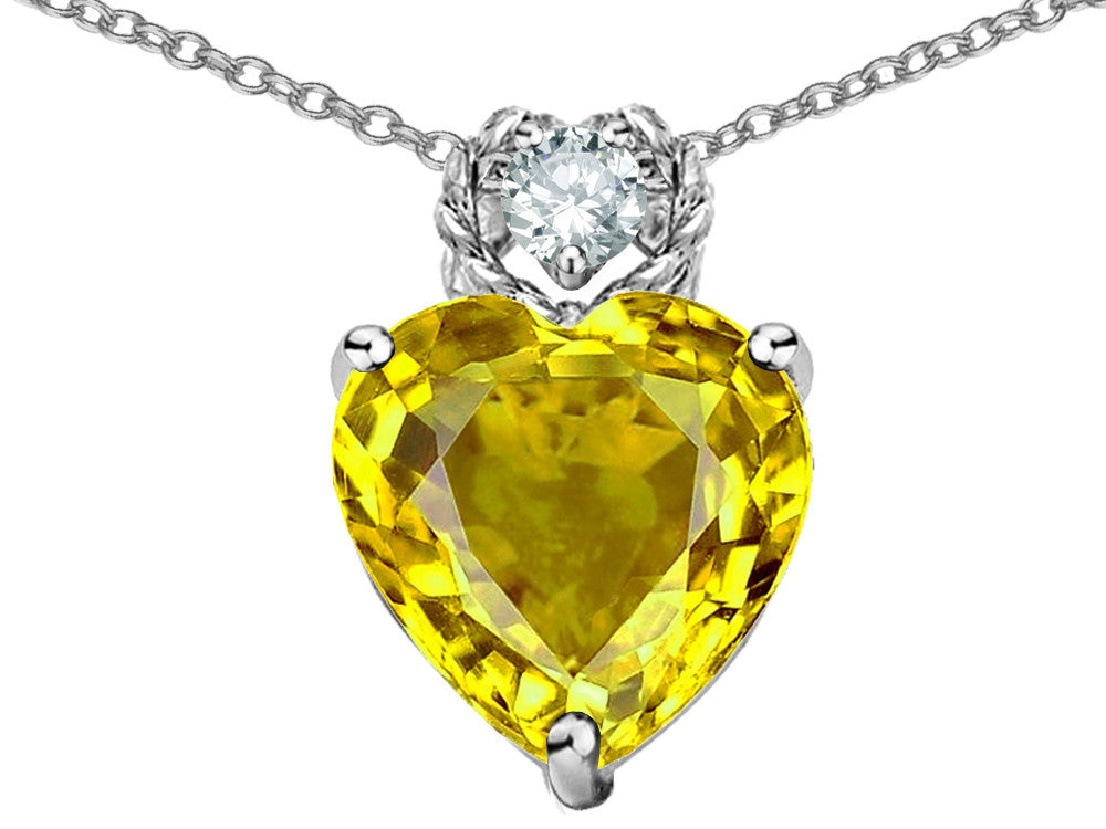 Star K 8mm Heart Shape Simulated Citrine Pendant Necklace