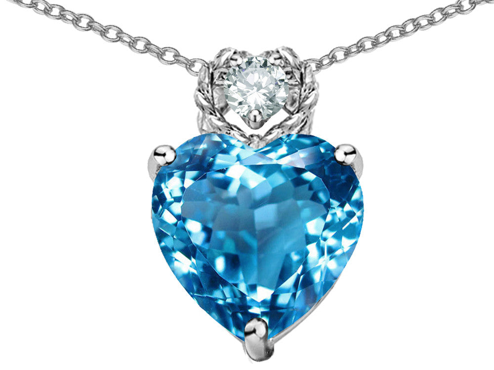 Star K 8mm Heart Shape Simulated Blue Topaz Pendant Necklace