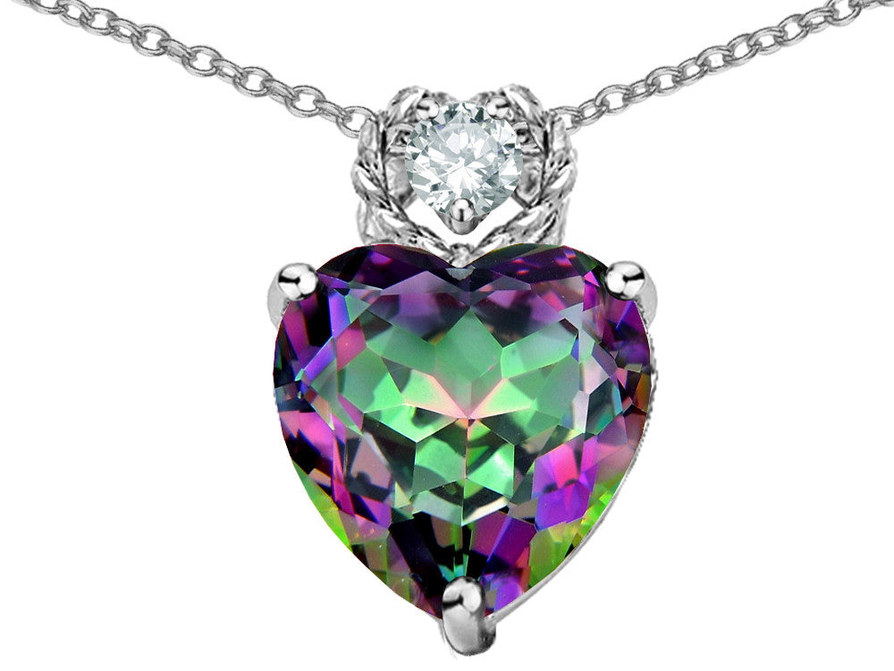 Star K 8mm Heart Shape Rainbow Mystic Topaz Pendant Necklace