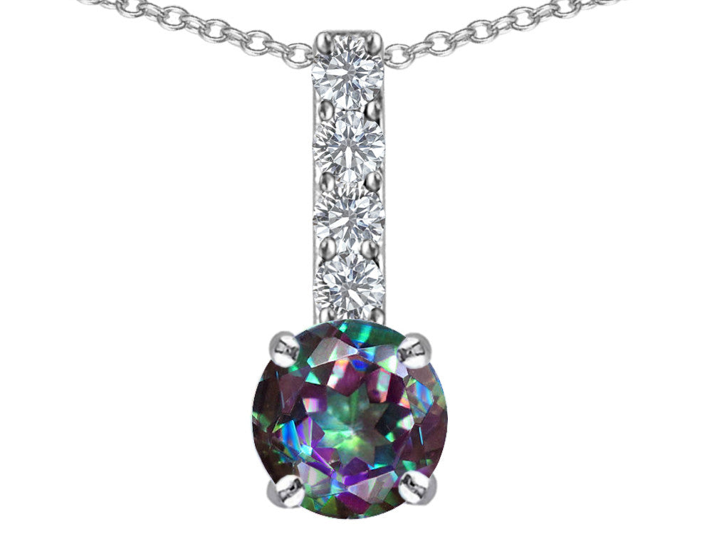 Star K Round Rainbow Mystic Topaz Pendant Necklace