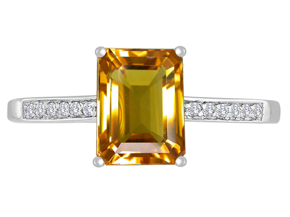 Original Star K 8x6mm Genuine Citrine Solitaire Engagement Ring