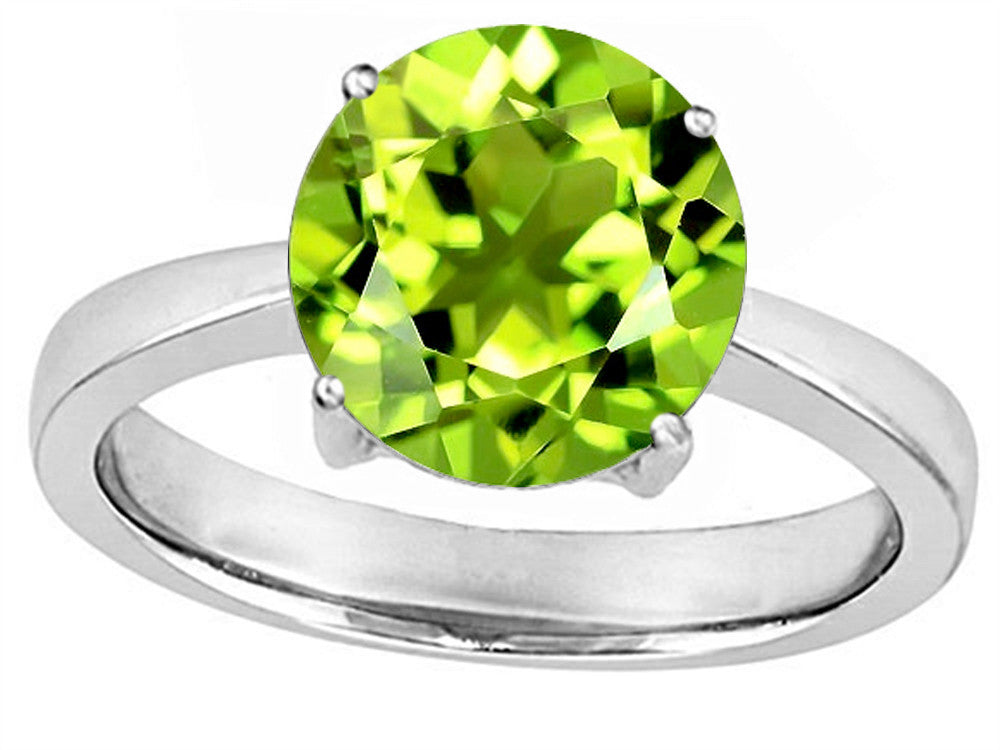 Star K Large Solitaire Big Stone Ring 10mm Round Simulated Peridot