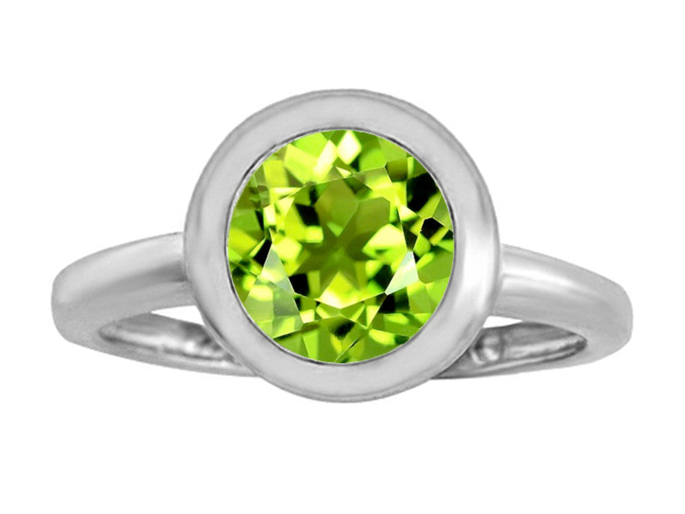 Star K 8mm Round Solitaire Ring With Simulated Peridot