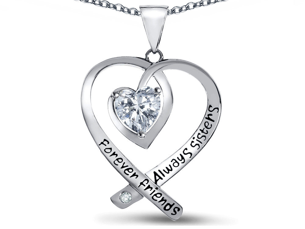 "Star K"" Always Sisters, Forever Friends"" White Topaz 7mm Heart Pendant Necklace"