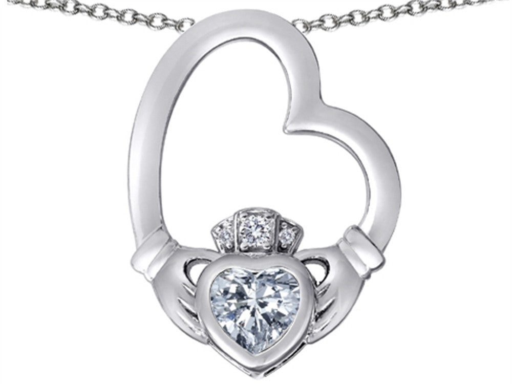 Star K Floating Heart Irish Claddagh Pendant Necklace with Heart Shape White Topaz