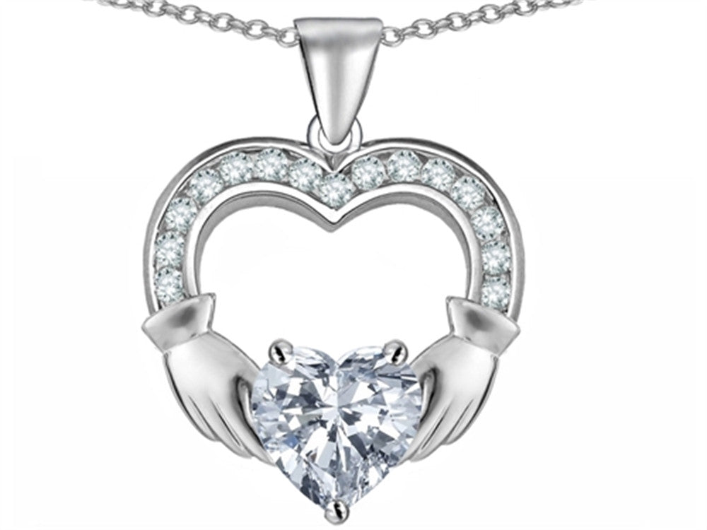Star K Hands Holding 8mm Heart Claddagh Pendant Necklace With White Topaz