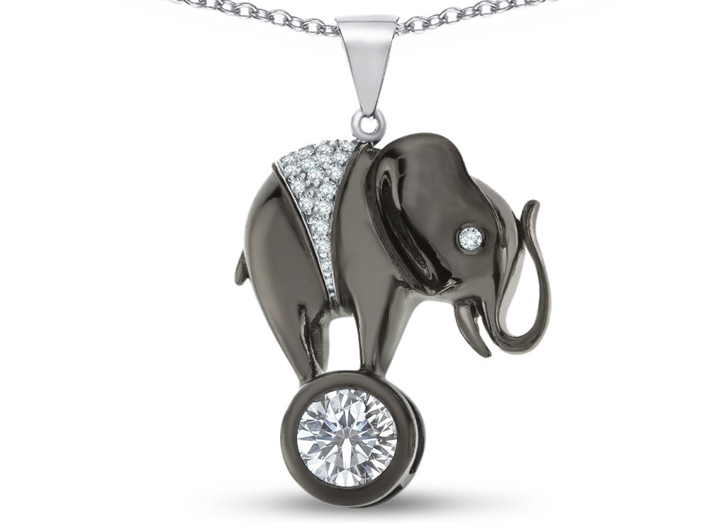 Star K Round 7mm White Topaz Good Luck Elephant Pendant Necklace
