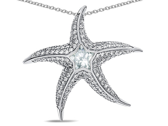 "Star K Sterling Silver White Topaz ""Star Fish"" Pendant Necklace"