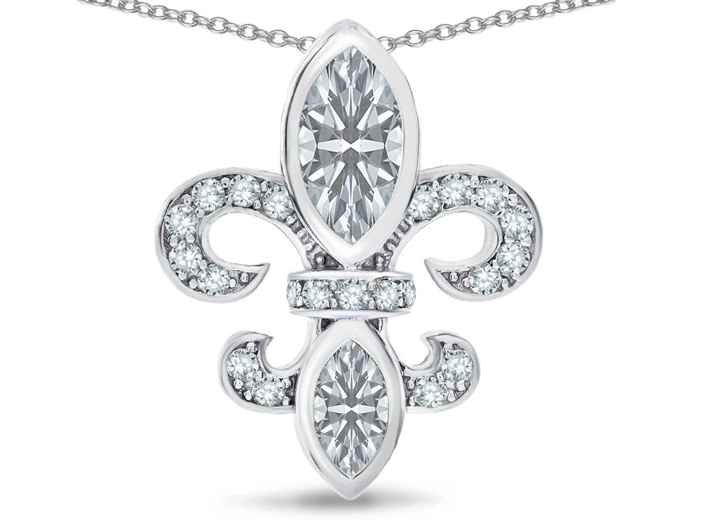"Star K White Topaz "" Fleur De Lis "" Flower Pendant Necklace"
