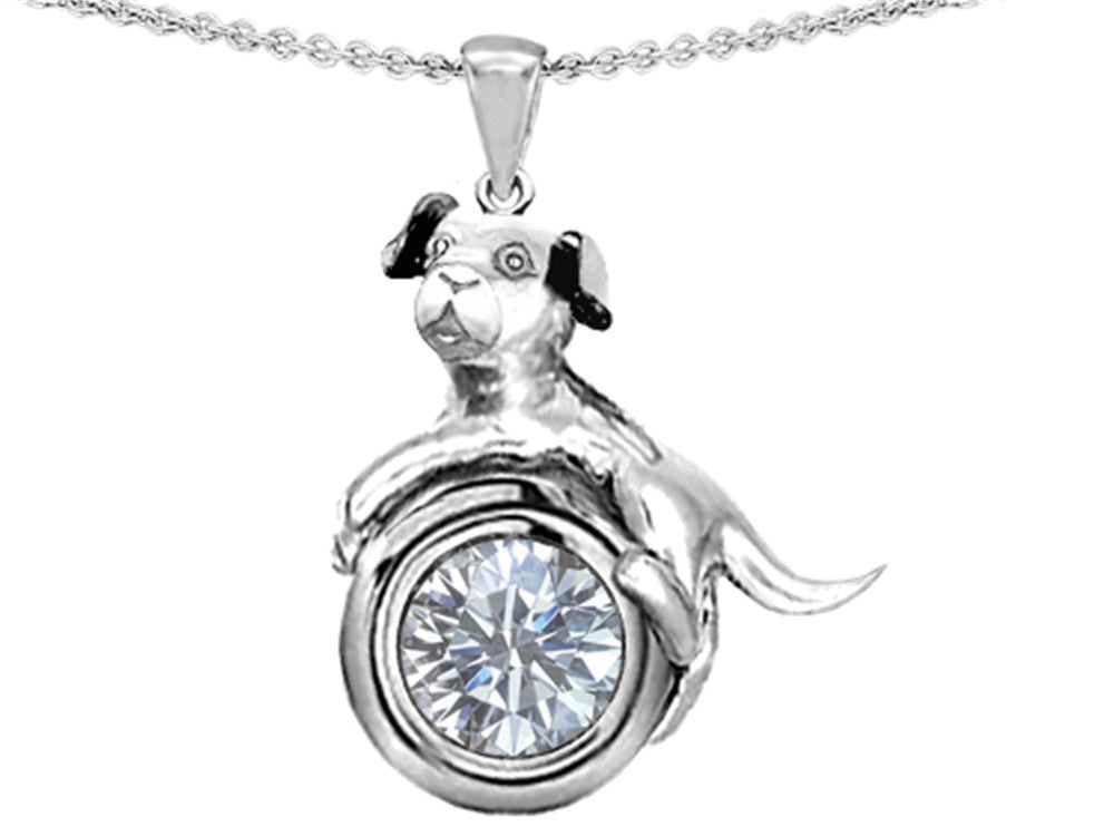 Star K Dog Lover Pendant Necklace with April Birthstone White Topaz