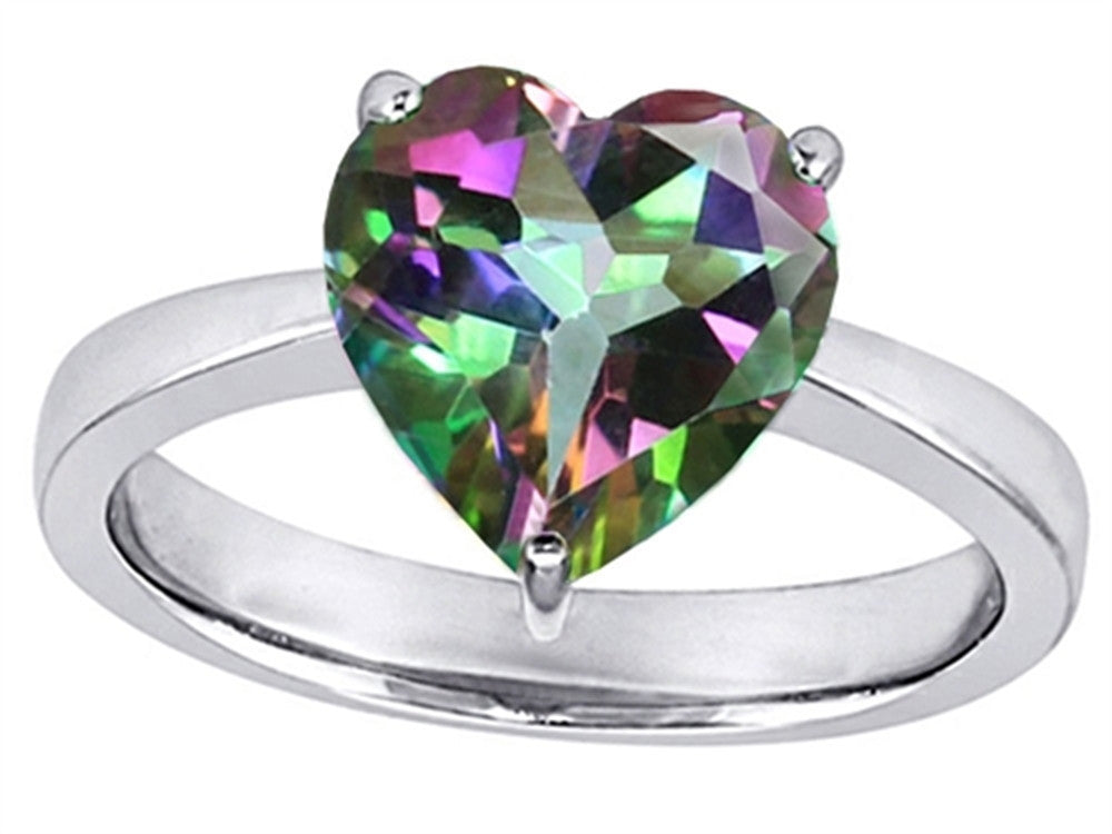 Star K Large 10mm Heart Shape Solitaire Ring with Multicolor Mystic Quartz
