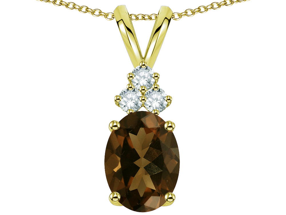 Star K Oval 8x6 mm Genuine Smoky Quartz Pendant Necklace