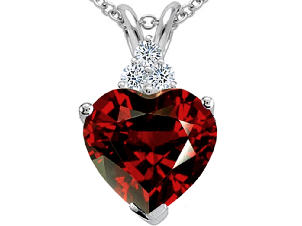 Tommaso Design 8mm Heart Shape Genuine Garnet Pendant Necklace