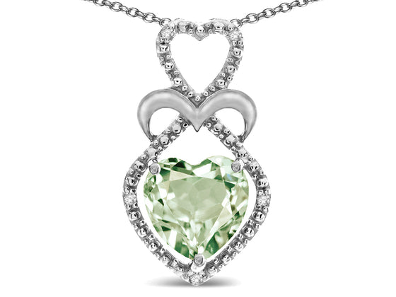 Star K Heart Shape 8mm Genuine Green Amethyst Heart Pendant Necklace